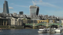 London City Skyline Tate Modern Millennium Bridge Walkie Talkie Cheese Grater Stock Footage