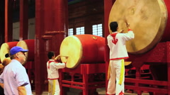 Chinese drummers, ancient Beijing Drum Tower Stock Footage