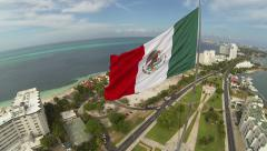 Aerial View of Giant Mexican Flag, Cancun Mexico - stock footage