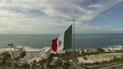 Stock Video Footage of Aerial View of Giant Mexican Flag, Cancun Mexico