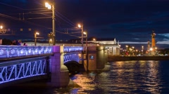 Quay a panorama in St. Petersburg at night Stock Footage