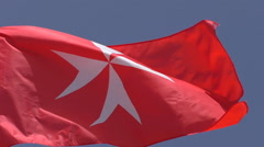 National flag civil ensign of Malta close up Stock Footage