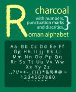 Latin charcoal alphabet on blackboard - stock illustration