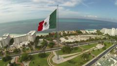 Aerial View of Giant Mexican Flag, Cancun Mexico Stock Footage