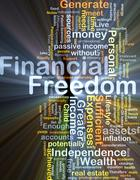Financial freedom background concept glowing - stock illustration