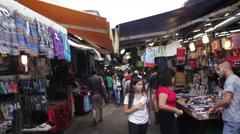People shop in Middle Eastern market in Israel Stock Footage