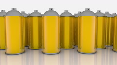 Color spray cans in gold color in rows Stock Footage