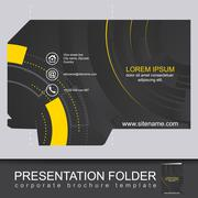 Abstract dark corporate folder with die cut, technology pattern Stock Illustration
