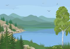Stock Illustration of Landscape with Trees and Mountain Lake