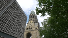 View of Kaiser Wilhelm Memorial Church, Berlin Stock Footage