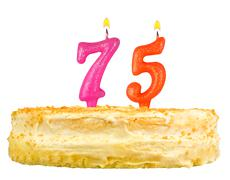 Birthday cake with candles number seventy five Stock Photos