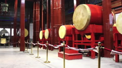 Chinese drums, Gulou Drum Tower, Beijing Stock Footage
