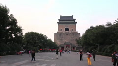 Tourists in Bell Tower courtyard, Beijing Stock Footage