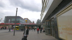 View of CineStar building and Alexanderplatz station, Berlin Stock Footage