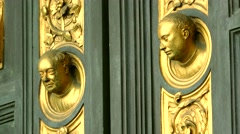ULTRA HD 4K real time shot,The door panels of Duomo Baptistry, Florence Stock Footage