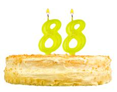 birthday cake with candles number eighty eight - stock photo