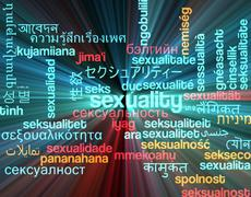 Sexuality multilanguage wordcloud background concept glowing - stock illustration