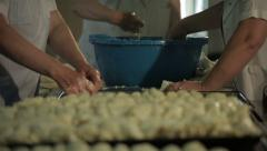 Cooks preparing cheese pies and stacking in casserole in the kitchen, close up. Stock Footage