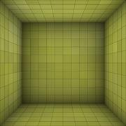 empty futuristic room with green walls and subdivision - stock illustration