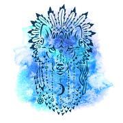 Wolf in war bonnet, hand drawn animal illustration Stock Illustration