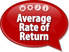 Average Rate Return Business term speech bubble illustration - stock illustration