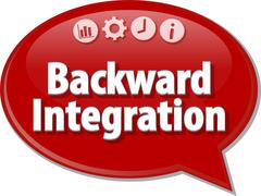 Backward Integration  Business term speech bubble illustration - stock illustration