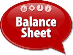 Balance Sheet  Business term speech bubble illustration - stock illustration