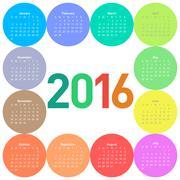 Circle calendar for 2016 year. - stock illustration