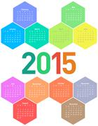 Calendar for 2015 year - stock illustration