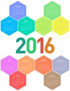 Calendar for 2016 year. - stock illustration