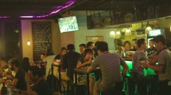 Local burmese - trendy rooftop bar in myanmar - stock footage