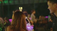 trendy bar - smoking glowing sheesha - stock footage