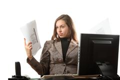 Businesswoman hold a paper - stock photo