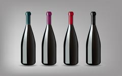 Wine Bottle with On grey Background Isolated. Ready For Your Design. Product Stock Illustration