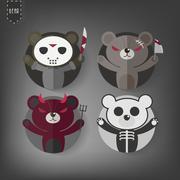 Flat Style Halloween teddy bear Vector Icon Set,Dark Teddy bear Stock Illustration