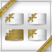 Collection of gift cards with ribbons. Vector background Stock Illustration
