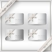Collection of gift cards with ribbons. Vector background - stock illustration