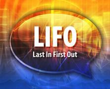 LIFO acronym definition speech bubble illustration - stock illustration