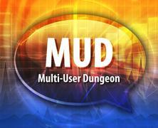 MUD acronym definition speech bubble illustration - stock illustration