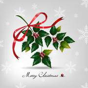 Christmas card with holly berry.on snow background. - stock illustration