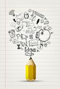 Stock Illustration of pencil write doodle on white paper