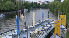 Spree Blick boat anchored on Spree River, Berlin Stock Footage