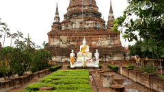 Pan Up of Statue of Buddha to Temple Top - Thailand Stock Footage