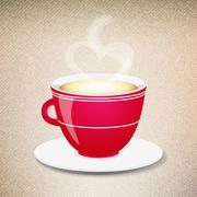 Stock Illustration of Red coffee cup on a jeans background