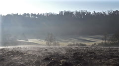 Agricultural field and morning mist Stock Footage