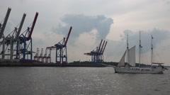 Sailingship near the docks of Hamburg harbour Stock Footage