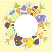 Easter eggs and carrots pattern on a yellow - stock illustration