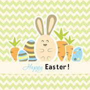 Easter green card with carrots and rabbit - stock illustration