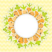 Easter carrots pattern on a yellow Stock Illustration