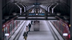 Underground Trainstation Timelapse Tilt and Shift Miniature effect Stock Footage